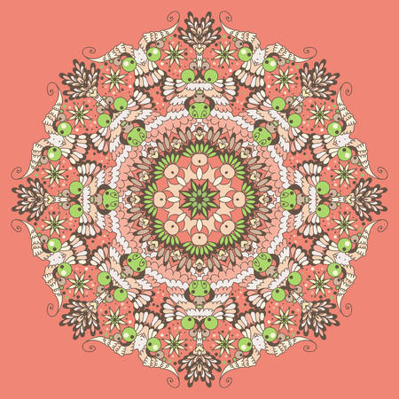 Ornamental round abstract pattern,  circle background with many details  Vector