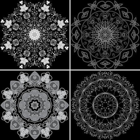 entwined: Set of four ornamental round entwined, celtic, flower, abstract pattern   Illustration