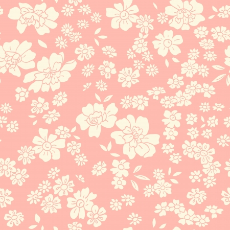 Seamless texture with different flowers. Endless floral pattern. Vector