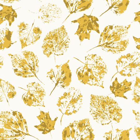 Seamless texture with stamped autumn leaves  Endless floral pattern  Vector