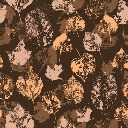 stamped: Seamless texture with stamped autumn leaves  Endless floral pattern