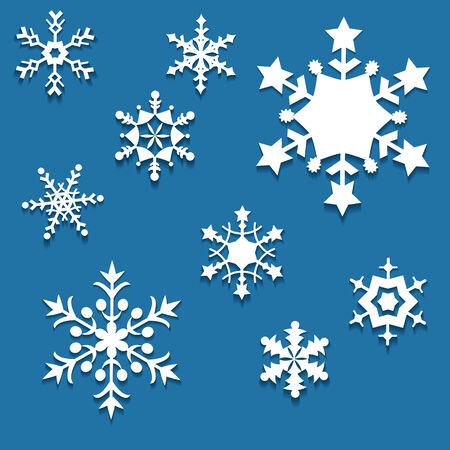 Set of nine snowflakes  Christmas decorations cut from paper  Vector