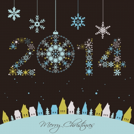 2014 New year  Happy holidays background with snowflakes, snow, houses and fir  2014 made of snowflakes