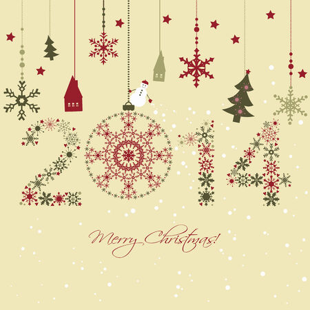 2014 New year  Happy holidays background with snowflakes, snow, houses and fir  2014 made of snowflakes  Vector