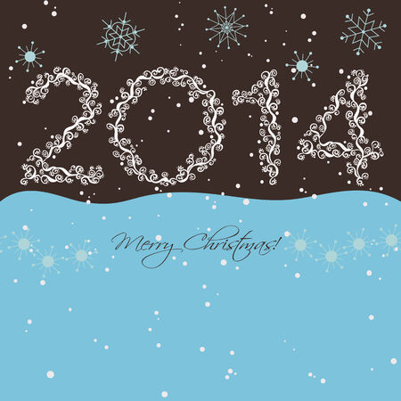 흰 서리: 2014 New year  Happy holidays background with snowflakes and snow  2014 made of hoarfrost