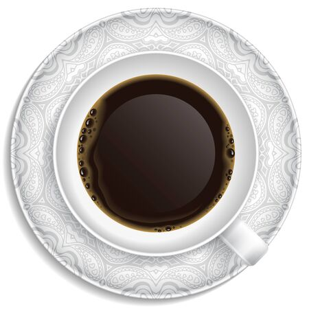 Cup of coffee on saucer  Top view  Vector