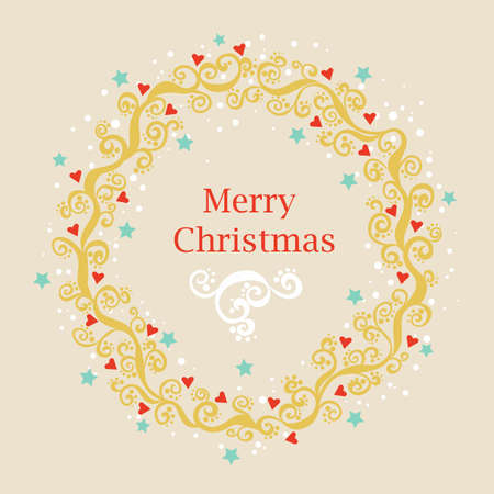 pale color: Greeting card with Christmas wreath in pale color.