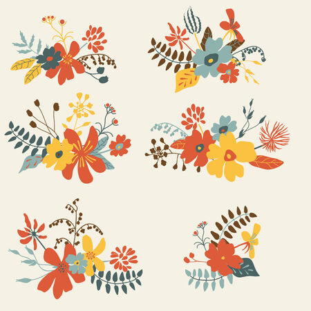 Set of six graphic floral design, bunch of flowers  Hand drawn retro floral set  Vector