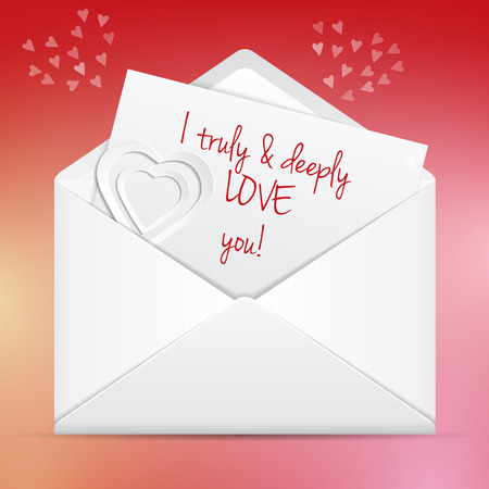 deeply: Love letter in envelope  I truly and deeply love you