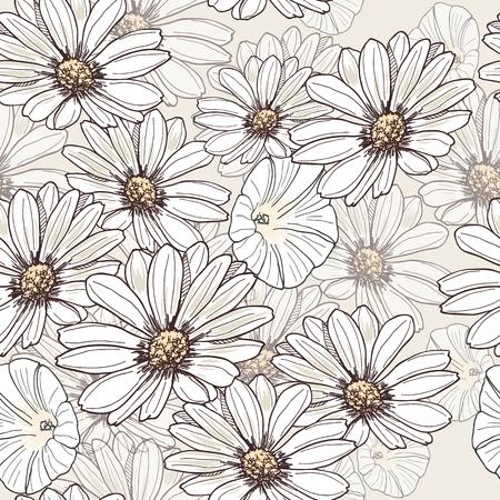 Seamless summer flower pattern. Hand drawn floral design.