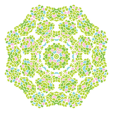 Green nature round leaf pattern. Circle background with many leaves details.