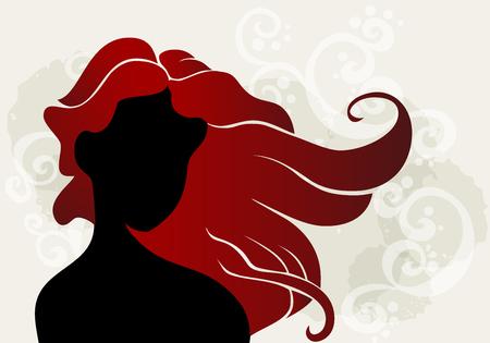 pelo ondulado: Mujer joven con el pelo ondulado en el fondo del grunge.
