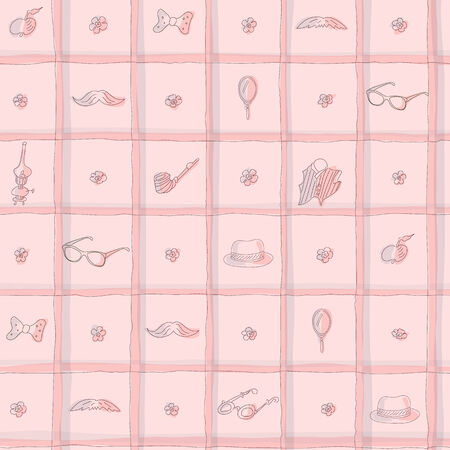 Vintage seamless hand drawn pattern with moustache, hat, flowers. Vector
