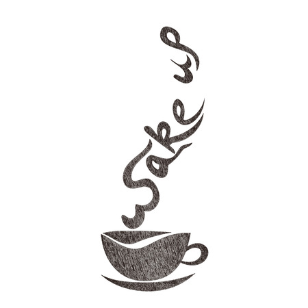 Good morning, wake up coffee cup hand drawing Vector