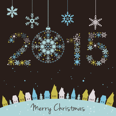 Happy holidays background with snowflakes, snow, houses and fir 2015 made of snowflakes  Vector