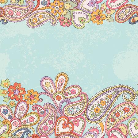 페이 즐 리와 손으로 그린 장식 가로 원활한 패턴