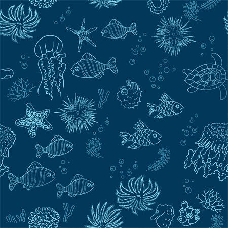 horsefish: Dibujado a mano el mar de fondo el tema con los contornos del grunge