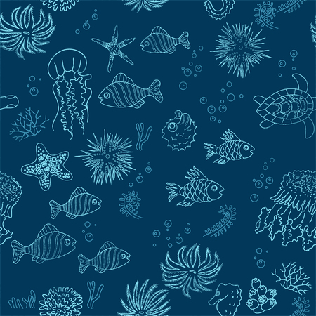 Hand drawn sea theme background with grunge outlines Vector