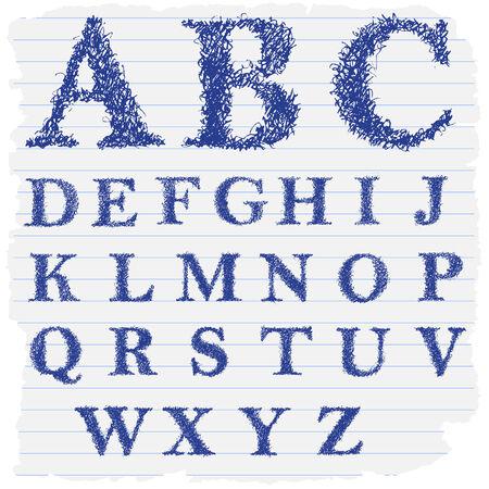 english letters: Hand drawn decorative english alphabet letters