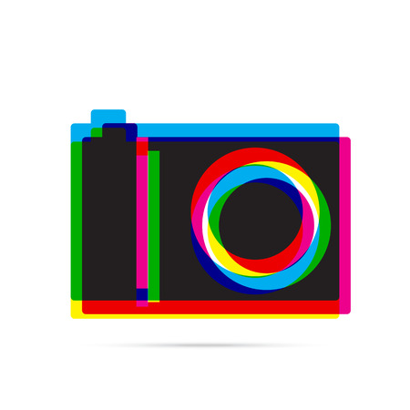 offset: Digital camera icon with shadow. CMYK offset effect