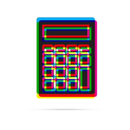 offset: Calculator icon with shadow. CMYK offset effect