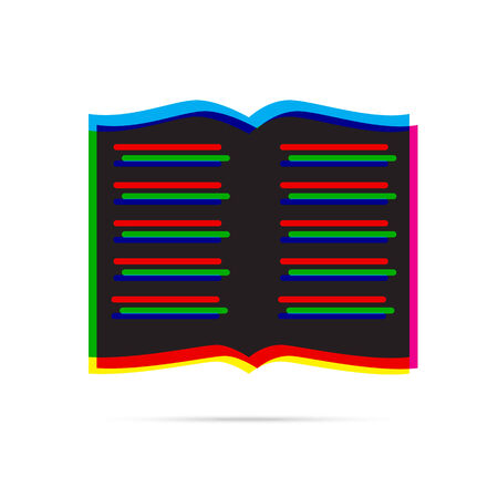 offset: Book icon with shadow. CMYK offset effect