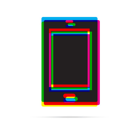offset: Tablet icon with shadow. CMYK offset effect