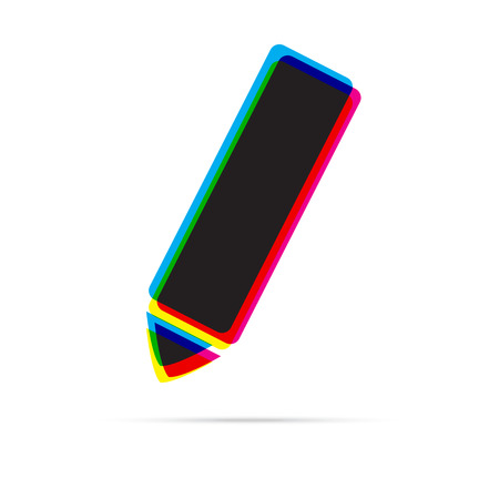 offset: Pencil icon with shadow. CMYK offset effect Illustration