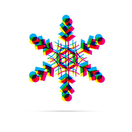 offset: Snowflake icon with shadow. CMYK offset effect