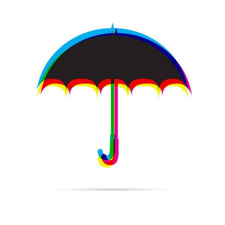 offset: Umbrella icon with shadow. CMYK offset effect. Safety, protection, rain, autumn season concept Illustration