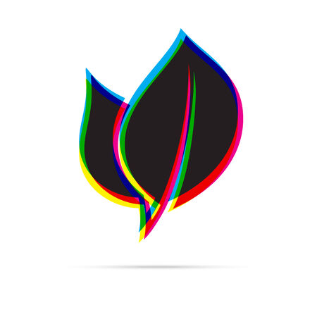 offset: Eco leaf icon with shadow. CMYK offset effect Illustration