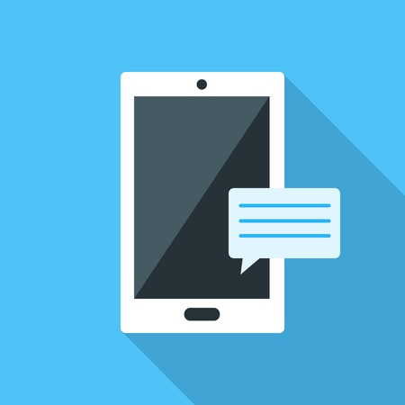 Smartfon flat icon on blue background. Flat icons with long shadow effect