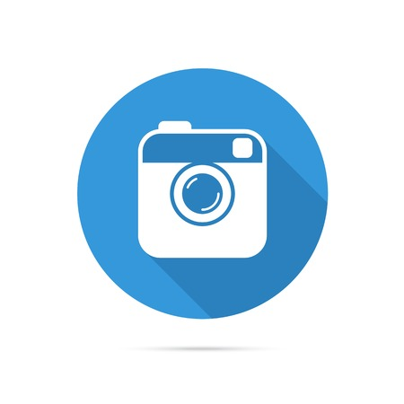 Hipster photo or camera flat icon on blue circle with long shadow