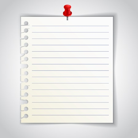 old notebook: Lined notebook sheet with red pin, realistic illustration