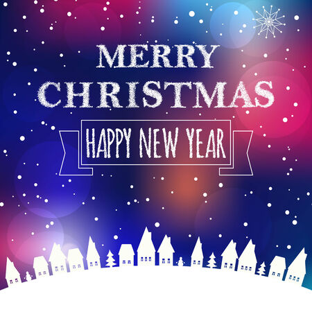 Christmas greeting card light background. Merry Christmas and Happy new year message Vector