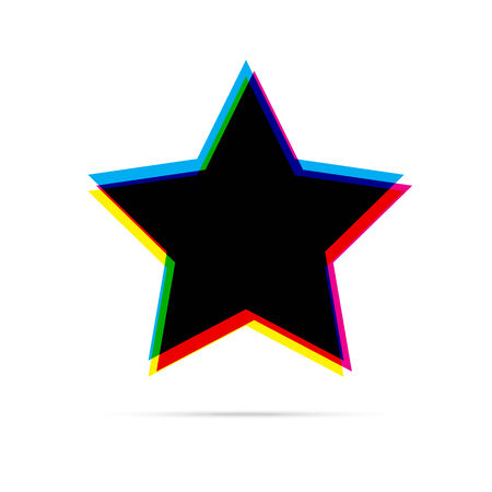 anaglyph: Star flat icon with shadow. CMYK offset effect Illustration