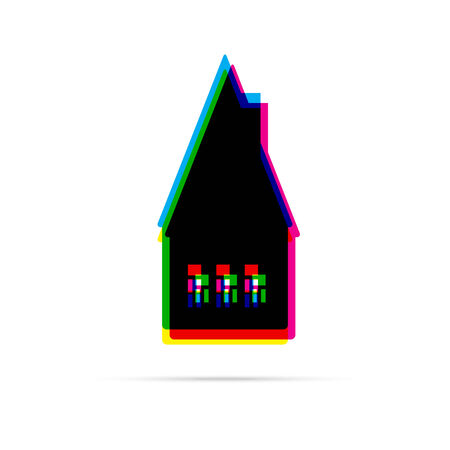 offset: Home flat anagliph icon with shadow. CMYK offset effect Illustration