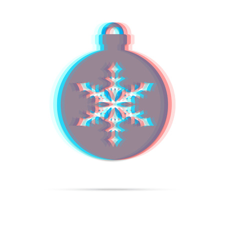 anaglyph: Christmas ball with snowflake anagliph flat icon