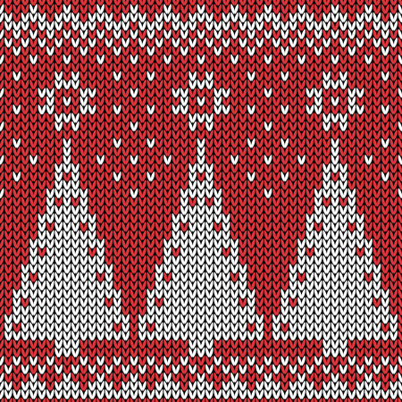 Seamless winter holiday pattern on the wool knitted texture. Christmas Background Vector