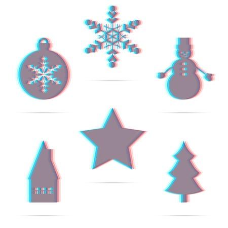 Set of six winter holiday anagliph flat icon: star, Christmas ball, snowflake, house, snowman, christmas tree. Modern 3D design Vector