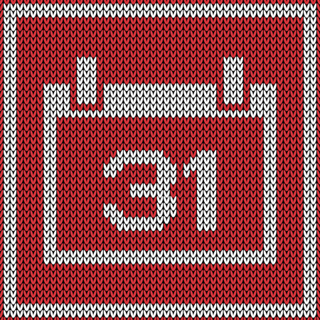 31: Red calendar icon on wool knitted texture. Number 31
