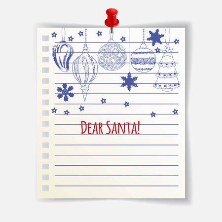 Dear Santa card with cute Christmas balls. Illustration