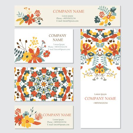 corporate background: Set of business or invitation cards templates, corporate identity templates. Floral pattern