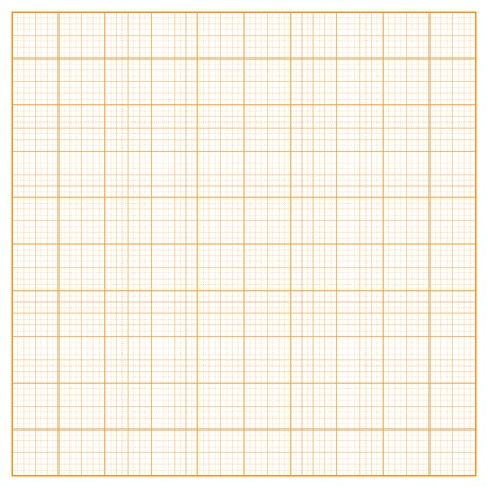 inch: Vector square inch orange grid on white background Illustration
