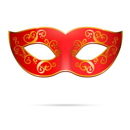 carnival mask: Vector red venetian carnival mardi gras party mask. Illustration