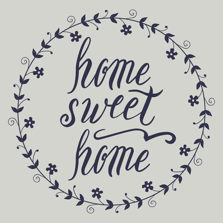 homely: Home sweet home lettering, vector on light background Illustration