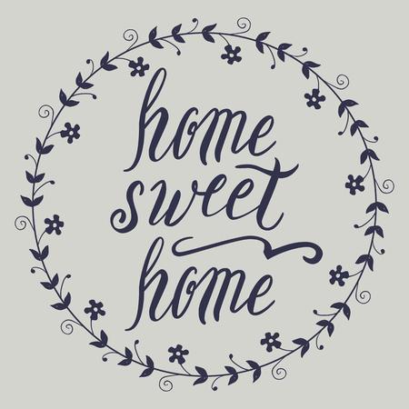 Home sweet home lettering, vector on light background Illustration