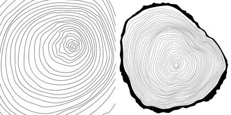 cut logs: Vector anillos de los �rboles de fondo y el �rbol de log cortado.