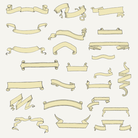 vintage scroll: Vector set of ribbon banner shapes in vintage style. Illustration