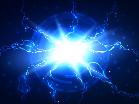 Abstract blue electric lightning vector science background, can be used for business, medical, science  presentation
